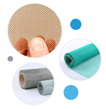 There are three types of mosquito screen mesh in different materials.