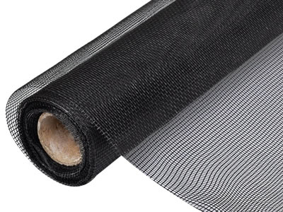 There is a roll of fiberglass insect screen in black.