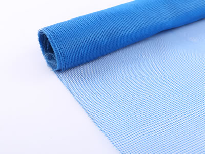 A roll of fiberglass insect screen in blue.