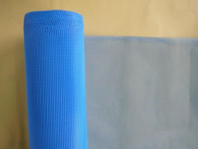 There is a roll of nylon insect screen in blue.
