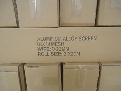 There are many aluminum window screen packed in carton boxes which are printed the detailed information of the products.