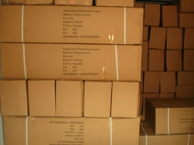 Fiberglass window screen have carton box as the outer package which has the detail information on it.