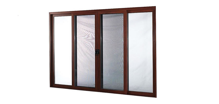 It is a double panel sliding window with a wooden frame installed the sliding insect screen.