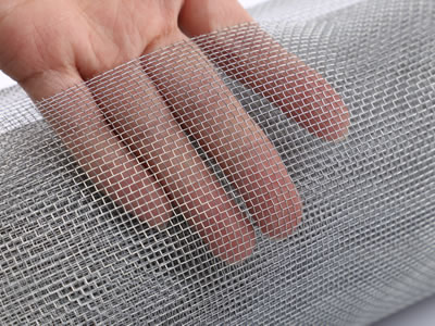 There is a display of galvanized window screen and you can see the mesh clearly.
