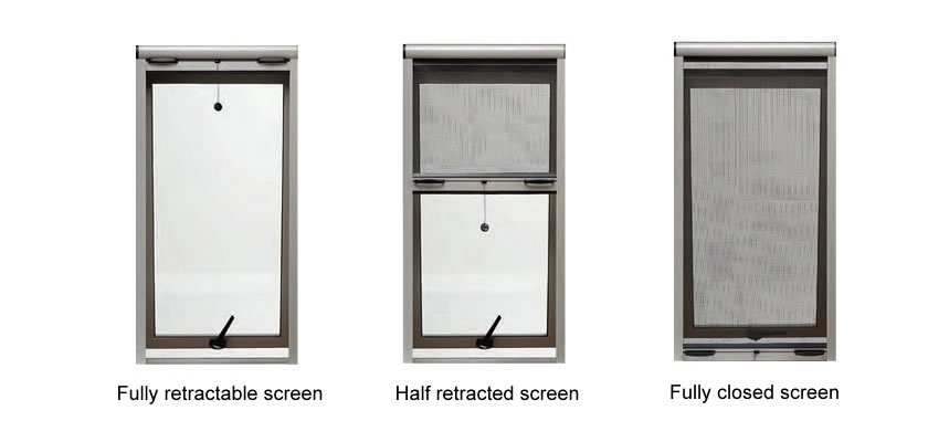 There are three different conditions of the roll-up insect screen, and you can adjust it according to your needs.