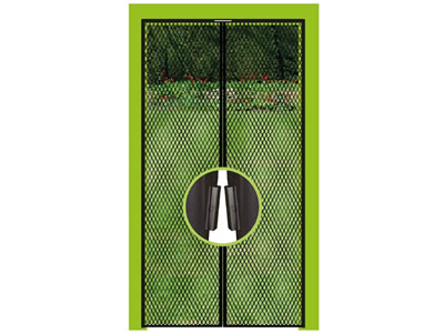 In front of a private garden, there is a magnetic screen door whose magnet section is amplified.