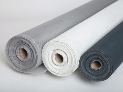 There are three rolls of plastic window screen in gray, white and black respectively, all of which are packed in rolls.
