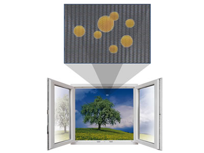 The pollen of flowers, grass and a tree outside is blocked on the screen of the opening window.