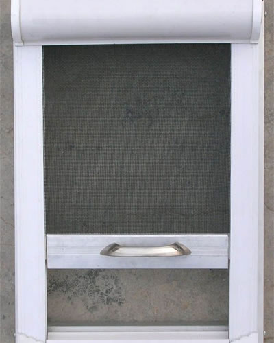 It is a white-frame window model with the roll-up insect screen.