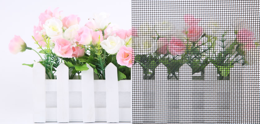 In front of the flower basket, there is a piece of security screen in black, which has good transmittance.