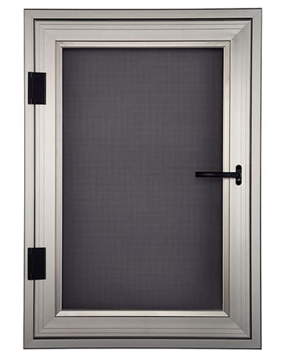 Security screen is used on a hinged window.