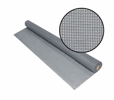 A roll of gray solar screen open with a detail of meshes.
