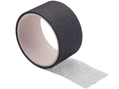 It is a roll of strip-shaped repair tape in black.