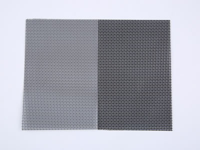 There are two pieces of security screen meshes, one is 12 mesh in black and the other is 14 mesh in gray.