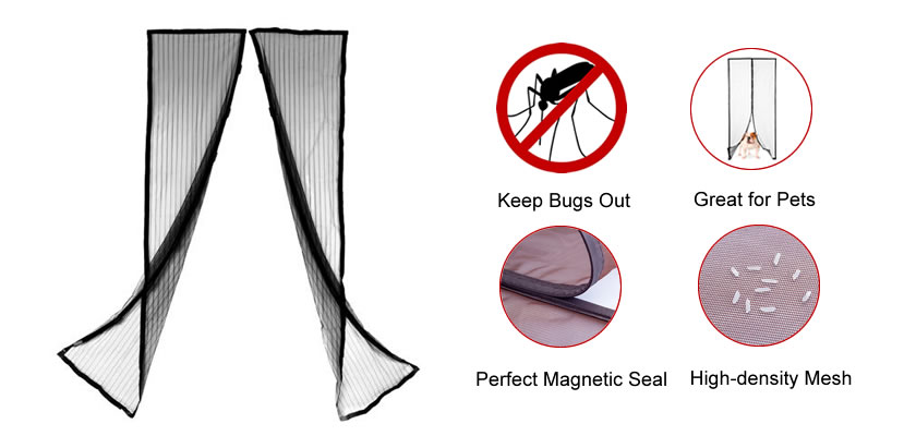 This is a multipurpose magnetic insect screen which is applied on a door, and its characters are demonstrated on the right.