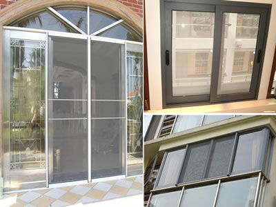 The picture shows that the invisible screen is installed on both windows and doors.