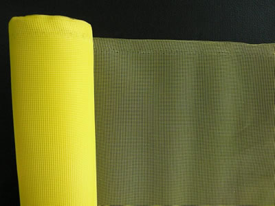 There is a roll of polyethylene insect screen in yellow.